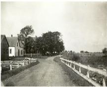 Showing current house amid trees - first two houses on left no longer exist; Jean Profitt Collection, n.d.