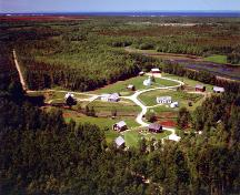 Aerial view of the Village Historique Acadien; Village Historique Acadien