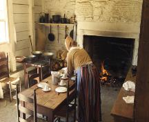 Interior view - kitchen and stove of Blackhall, one of the buildings of the Village Historique Acadien; Village Historique Acadien