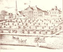 Historic drawing of Courthouse showing Bellevue Terrace at extreme left (behind tree) – c. 1890; Mika & Mika, 1977