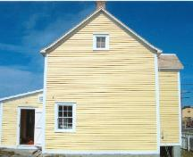 Exterior side view of Joseph and Selena Templeman House, Bonavista, showing rear extension, 2004; HFNL 2004