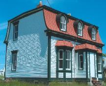 View of side and front facades, Jubilee House, 134 Coster Street, Bonavista, summer 2005, after restoration work; HFNL 2005