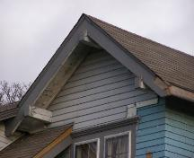 Detail of roof beam ends in gable on west side of the Burgess Blackadar House, Yarmouth, NS; Heritage Division, NS Dept. of Tourism, Culture & Heritage, 2006