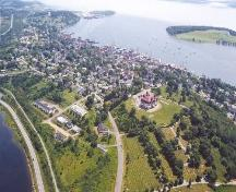 Aerial view of Lunenburg Academy, from the north west.; Heritage Division, NS Dept. of Tourism, Culture and Heritage, 2005.