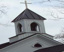 closeup of belfry, St. John's Anglican Church, Wolfville, NS, 2006; Heritage Division, NS Dept. of Tourism, Culture and Heritage, 2006