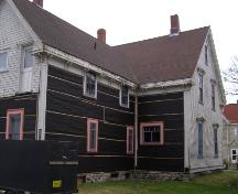The north side of the back ell showing some of the restoration work being carried out on the Charles Moody House, Yarmouth, Nova Scotia.; Heritage Division, NS Dept. of Tourism, Culture & Heritage, 2006