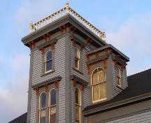 Detail of tower, attached dormers and paired bracket trim on the Ellery Scott House, Yarmouth, NS.; Heritage Division, NS Dept. of Tourism, Culture & Heritage, 2006