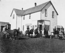 General store, Dickson (circa 1918) - The hitching posts were replaced with gasoline pumps in 1920.