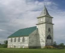 View of Kristiania Lutheran Church highlighting the steeple, 2006; Government of Saskatchewan, Brett Quiring, 2006.