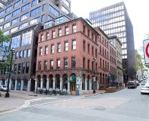 Geldert Building, Nova Scotian Building, Heffernan Building and Queen Building, from the left going up Prince Street, Halifax, 2006. ; Heritage Division, NS Dept. of Tourism, Culture and Heritage, 2006.