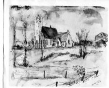 Upper Sackville United Church  - Sketch by Peter Fenson in 1964; Estate of Peter Fenson