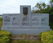 Locke Family Streetscape monument, located near the John Locke Homestead, Lockeport, 2004.; Heritage Division, NS Dept. of Tourism, Culture and Heritage, 2004.