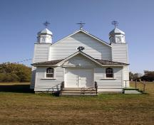 Primary elevation, from the west, of the Ukrainian Greek Orthodox Church of the Holy Transfiguration, Menzie area, 2006; Historic Resources Branch, Manitoba Culture, Heritage and Tourism, 2006