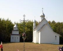 Contextual view, from the east, of the Ukrainian Greek Orthodox Church of the Holy Transfiguration, Menzie area, 2006; Historic Resources Branch, Manitoba Culture, Heritage and Tourism, 2006