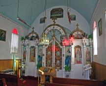 Interior view of the Ukrainian Greek Orthodox Church of the Holy Transfiguration, Menzie area, 2006; Historic Resources Branch, Manitoba Culture, Heritage and Tourism, 2006