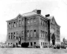 Historic exterior view of Penticton High School, Ellis School Building, no date; Penticton Museum