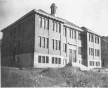 Historic exterior view of Penticton High School, Shatford School Building, no date; Penticton Museum