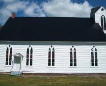 Side elevation, West Branch United Church, 2006; Heritage Division, NS Dept of Tourism, Culture and Heritage, 2006.