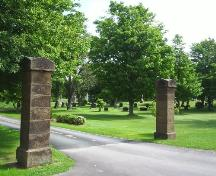 Sackville Cemetery - Front gates located in the older section of cemetery; Town of Sackville