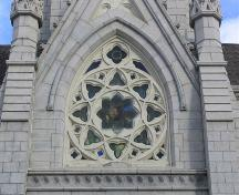 Stained glass window on the front elevation, St. Mary's Basilica, Halifax, Nova Scotia, 2005. ; Heritage Division, NS Dept. of Tourism, Culture and Heritage, 2005.