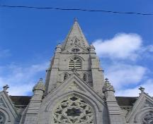 Granite spire behind the central front gable, St. Mary's Basilica, Halifax, Nova Scotia, 2005. ; Heritage Division, NS Dept. of Tourism, Culture and Heritage, 2005.