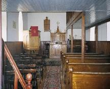 Interior of the Wheatwyn Church viewing the sanctuary from the nave, 2006; Ross Herrington, 2006.
