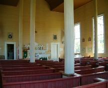 Interior, St. Denis Church, Minudie, Nova Scotia, 2005. ; Heritage Division, NS Dept. of Tourism, Culture and Heritage, 2005.