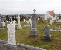 View of the Mortuary Chapel Cemetery with a left side view of the chapel in the background, Bonavista, NL, 2006/06/14.; L Maynard/HFNL 2006