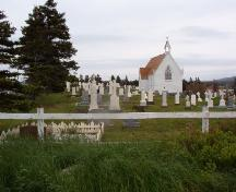 View of the Mortuary Chapel Cemetery with a right side view of the chapel in the background, Bonavista, NL, 2006/06/14.; L Maynard/HFNL 2006