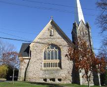 West elevation, Saint John the Evangelist Roman Catholic Church, Windsor, Nova Scotia, 2006. ; Heritage Division, NS Dept. of Tourism, Culture and Heritage, 2006.