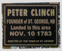 Sign located where Peter Clinch landed; Norma Stewart