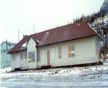 Exterior photo of Canadian National Railway Station showing front facade, circa 1996.  Photo taken before restoration.; HFNL 2005