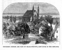 Showing former Mission House to the left of First Methodist Church (Trinity United); Harper's New Monthly Magazine, September 1877
