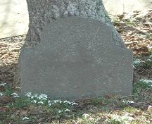 Tombstone on the Harris-Baxter house property, Annapolis Royal, Nova Scotia.; Heritage Division, NS Dept. of Tourism, Culture and Heritage, 2007