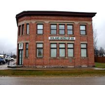 Primary elevation, from the north, of the Royal Bank Building, Roland, 2005; Historic Resources Branch, Manitoba Culture, Heritage and Tourism, 2005