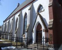 South elevation, Grafton Street Methodist Church, Halifax, Nova Scotia, 2007. ; Heritage Division, NS Dept. of Tourism, Culture and Heritage, 2007.