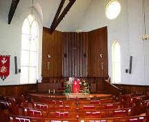 View of the nave and sanctuary of the St. Paul's United Church, Boissevain, 2005; Historic Resources Branch, Manitoba Culture, Heritage & Tourism 2005