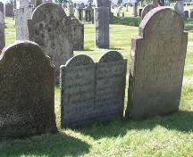 Robie Street Cemetery, Truro, oldest extant head stones, 2004; Heritage Division, NS Dept. of Tourism, Culture and Heritage, 2004