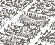Showing drawing of Square and surrounding streetscape; Panoramic View of Charlottetown - 1878