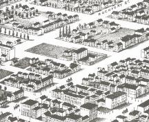 Showing jail and fenced yard on Pownal Square; Panoramic View of Charlottetown, 1878