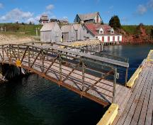 Showing entrance to Basin Head harbour with Cannery on far right; Province of PEI, 2004
