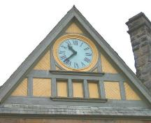 Gilbert H. Grosvenor Hall clock in the west gable.; Heritage Division, NS Dept. of Tourism, Culture and Heritage, 2004.