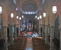 The interior of the Cathédrale Notre-Dame de l'Assomption is a blend of Gothic Revival religious tradition and modern design. ; Moncton Museum