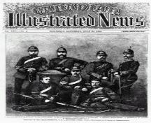 Showing Major George L. Dogherty standing second from right; Canadian Illustrated News, Vol. 22, no. 5, 65 (July 31, 1880)
