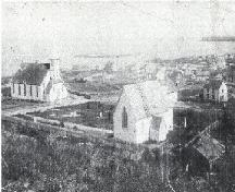Historic image of Elliston showing Methodist Church at left and St. Mary's Anglican Church at right, circa early 1900s; Tourism Elliston Inc. 2007