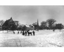 Winter scene on Rochford Square, early 1900s; PEI PARO Accession #:  3466/HF.72.66.4.56