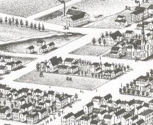Showing drawing of Rochford Square; Panoramic View of Charlottetown - 1878