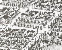 View of Square and associated streetscape; Panoramic View of Charlottetown, 1878