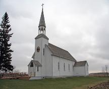 Primary elevations, from the northwest, of Ste. Therese Roman Catholic Church, Cardinal, 2006; Historic Resources Branch, Manitoba Culture, Heritage and Tourism, 2006