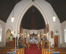 View of the chancel of St. Mary's la Prairie Anglican Church, Portage la Prairie, 2005; Historic Resources Branch, Manitoba Culture, Heritage and Tourism, 2005